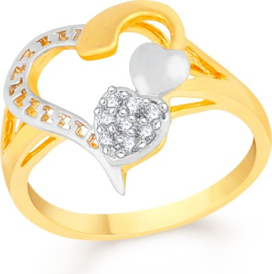 VK Jewels Triple Heart Pattern Brass, Alloy Cubic Zirconia Gold-plated Plated Ring