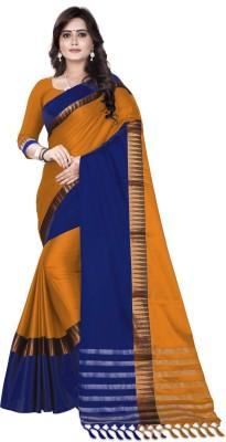 Lake prints Striped Fashion Tussar Silk Saree(Gold, Blue)