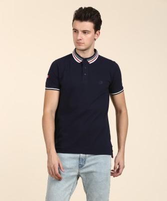 Lotto Solid Men Polo Neck Dark Blue T-Shirt