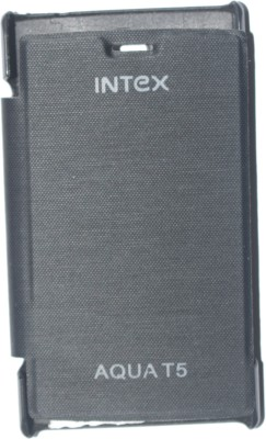 oramsa Flip Cover for intex aqua t5 Cover case Flip Flap Cover case Diary (Black,Artifiicial leather(black, Dual Protection, Artificial Leather) Flipkart