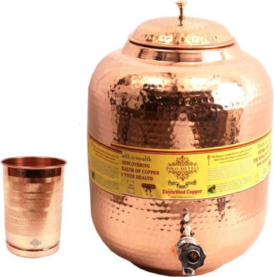 IndianArtVilla 1 Copper Water Pot 10 Liter with 1 Copper Glass  - 10300 ml Copper Grocery Container(Pack of 2, Brown) at flipkart