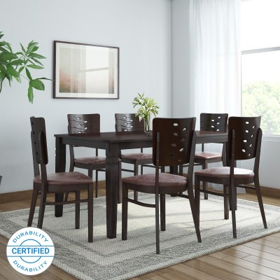 @home by Nilkamal Fern Solid Wood 6 Seater Dining Set(Finish Color - Erin Brown)