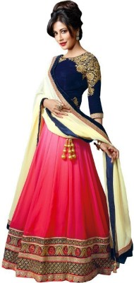 Define Jewellery Embroidered Ghagra, Choli, Dupatta Set(Pink)