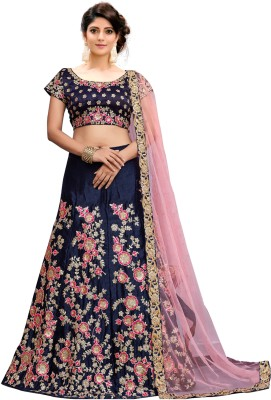 Kedar Fab Embroidered Semi Stitched Lehenga, Choli and Dupatta Set(Blue) at flipkart