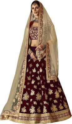 Kedar Fab Embroidered Semi Stitched Lehenga, Choli and Dupatta Set(Multicolor) at flipkart