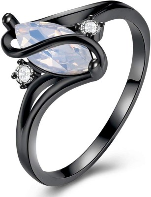 Divastri Alloy Opal Black Silver Plated Ring