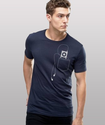 Young Trendz Printed Men Round or Crew Dark Blue, Grey T-Shirt