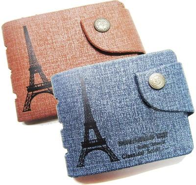 FERRET Men Tan, Blue Artificial Leather, Genuine Leather Wallet(8 Card Slots)