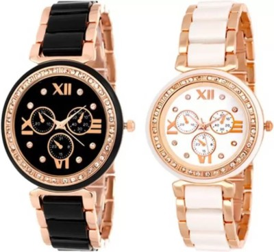PARALLEL TIMES Presenting the Newest Combo of Iik with Black n White Combination Party Wedding For Girls Watch  - For Women