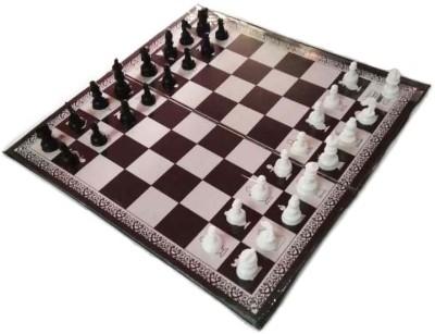 Qweezer 33 Cm Chess Game Sports Chess Mat & Chess Board With Coins Plastic Board Game 33 cm Chess Board(White, Black)