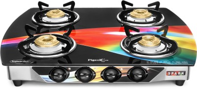 Pigeon Oval Wave Spark Series 4 Burner Gas Stove Glass, Stainless Steel Manual Gas Stove(4 Burners)