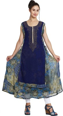 Vesture Forge Festive & Party Solid, Abstract Women Kurti(Blue)