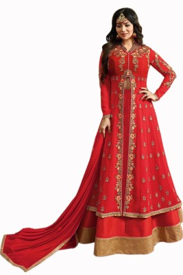 Fashion Basket Anarkali Gown(Red) Flipkart