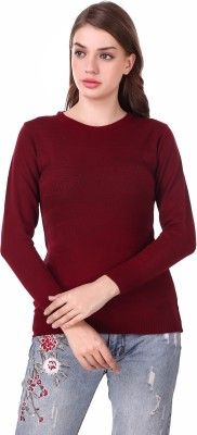 Christy World Solid Round Neck Casual Women