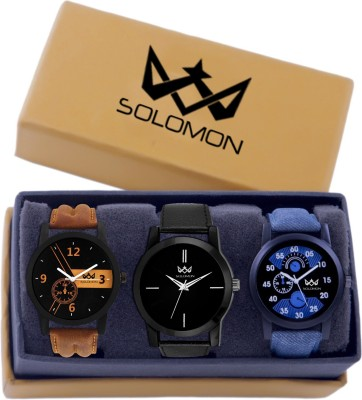 Solomon All Black Fancy Gifts for Women and Boys Watch  - For Men & Women