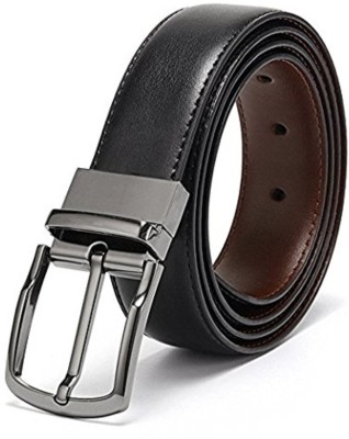 URBAN ALFAMI Men Party, Formal, Casual Black Texas Leatherite Reversible Belt