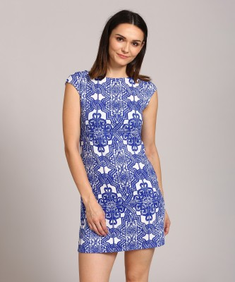 AND Women Sheath White, Blue Dress