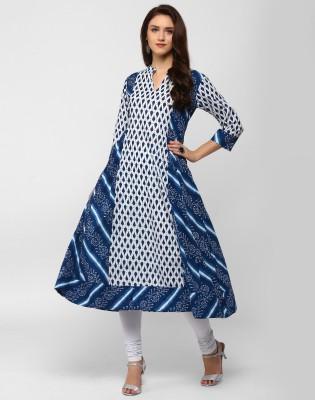 Divastri Women's Printed A-line Kurta(Blue)