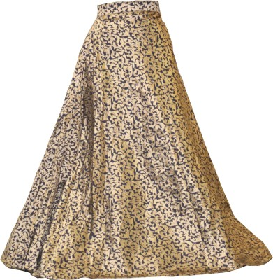 Sonu Creation Self Design Women Flared Gold Skirt