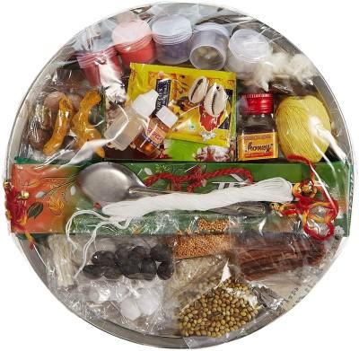 ME&YOU Special Puja Thali of 31 ingredients for Hawan Puja, Diwali Pujan, Navrata Pujan, Durga Pujan IZ18PujaThaliPack31-001 Steel(Multicolor)