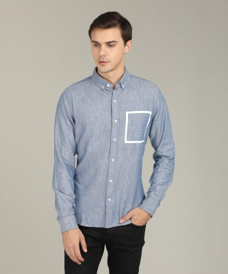 United Colors of Benetton Men Self Design Casual Blue Shirt at flipkart