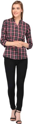 Amadore Women Checkered Casual Red, Black Shirt