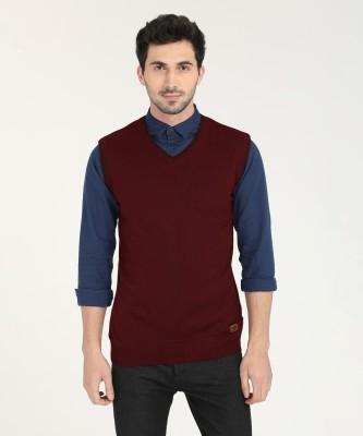 Metronaut Solid V-neck Casual Men Maroon Sweater