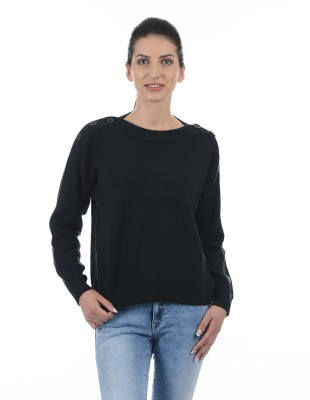 Pepe Jeans Solid Boat Neck Casual Women Orange Sweater