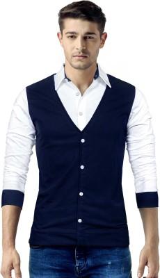 Seven Rocks Solid Men's Polo Neck Dark Blue, White T-Shirt
