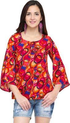 Oomph! Party Bell Sleeve Geometric Print Women