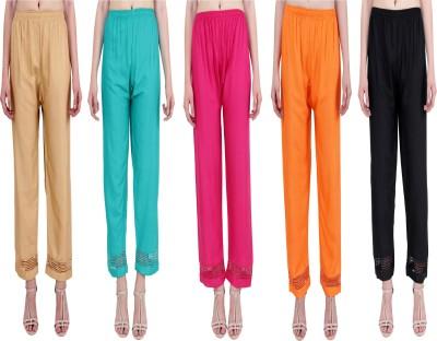 RMG FASHION Regular Fit Women Beige, Green, Orange, Pink, Black Trousers