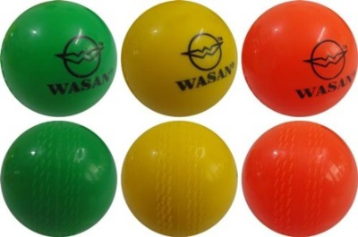 WASAN Wind Ball   Cricket Rubber Ball Pack of 3, Multicolor WASAN Cricket Balls