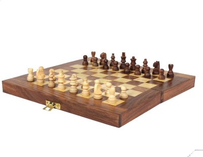 sk handicrafts Folding Magnetic Travel Chess Board Set Wooden 8 inch Chess Board(Brown, Grey)