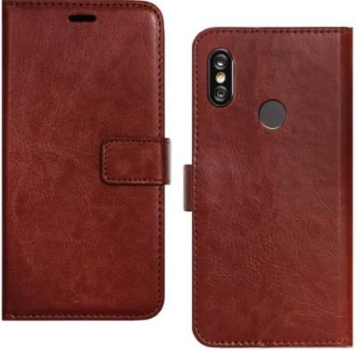 Spicesun Flip Cover for Mi Redmi Note 5 Pro(Brown, Artificial Leather)