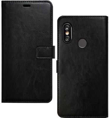 Spicesun Flip Cover for Mi Redmi Note 5 Pro(Black, Artificial Leather)