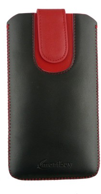 Emartbuy Pouch for Intex Aqua Speed HD(Black/Red Plain, Artificial Leather)