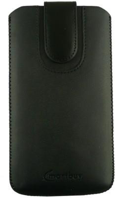 Emartbuy Pouch for Intex Aqua Speed HD(Black Plain, Artificial Leather)