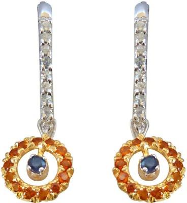 Surat Diamond 1.76ct Blue Sapphire,Citrin & White Topaz Hanging gemstone Sterling Silver Earring Topaz, Sapphire Sterling Silver Drops & Danglers at flipkart