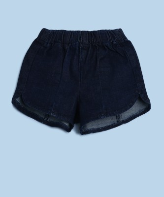 United Colors of Benetton Short For Girls Casual Solid Denim(Dark Blue, Pack of 1)