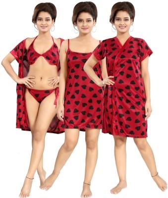 Fabme Women Robe and Lingerie Set(Red)