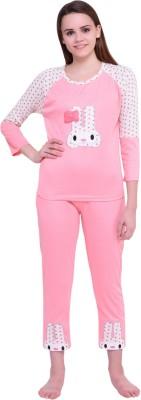 Icable Women Printed Pink Top & Pyjama Set
