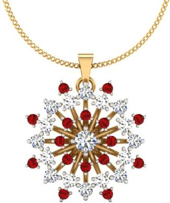 IskiUski Ruby Diamond Pendant 18kt Swarovski Crystal, Ruby Yellow Gold Pendant
