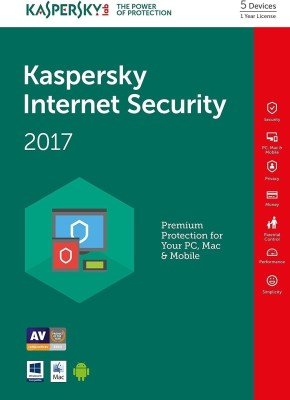 KASPERSKY Internet Security 2018 - 5 Pc / 1 Year [ 5 KEYS+ 1 CD] No Box