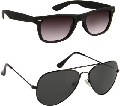 Gansta Wayfarer Sunglasses(Black, Black)