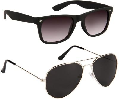 Gansta Wayfarer Sunglasses(Black, Silver)