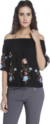 Vero Moda Casual Half Sleeve Embroidered, Solid Women