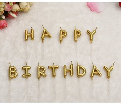 ToyNext Happy Birthday Candle - 13 Letters Candle(Gold, Pack of 1)
