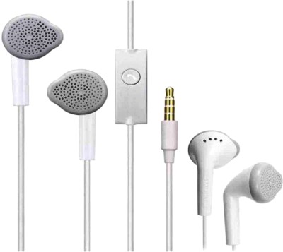 Platina Earphone Deep Bass On Nxt Mobile Wired Headset with Mic(White, In the Ear)