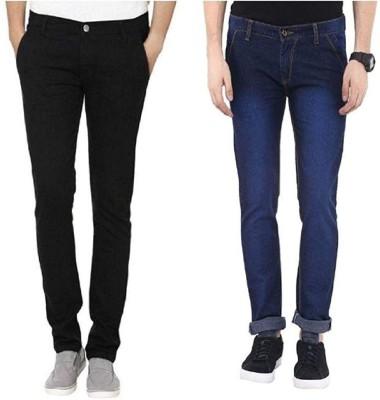 Finerbeast Slim Men Dark Blue, Black Jeans(Pack of 2)