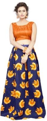 niklufashion Embroidered Semi Stitched Lehenga Choli(Blue, Orange)